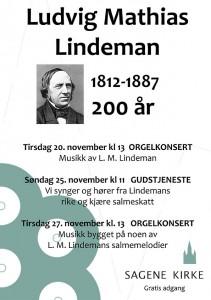 Lindeman-jubileet markeres i Sagene-kirke i november
