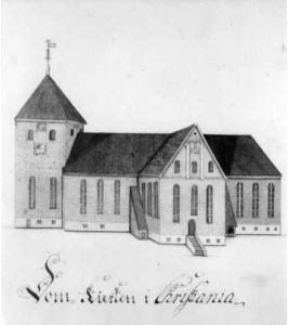 Vår Frelsers kirke tegnet av Georg Schøning