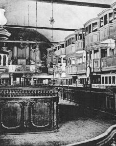 Interiøret i Vor Frue kirke med Johann Daniel Buschs orgelprospekt fra 1771